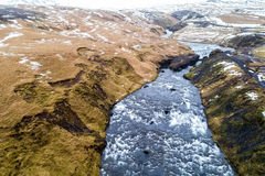 Aerial view waterfall near of famous  Skogar waterfall in Icelan Royalty Free Stock Photography