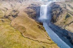 Aerial view waterfall near of famous  Skogar waterfall in Icelan Royalty Free Stock Image