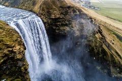 Aerial view waterfall near of famous  Skogar waterfall in Icelan Royalty Free Stock Photo