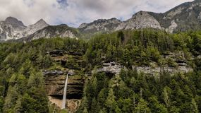 Aerial view of waterfall Pericnik stock photography