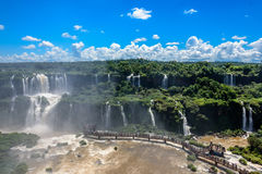 Aerial view of waterfalls cascade of Iguazu Falls with extensive Stock Image