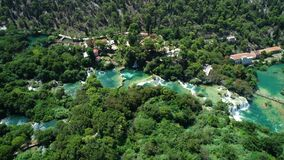 Aerial view of waterfalls Krka, Famous waterfall in National Park in Croatia, world heritage.