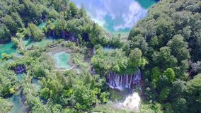 Aerial view of waterfalls and lakes in Plitvice National Park. stock video