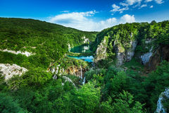 Aerial View on Waterfalls in Plitvice National Park Stock Photo