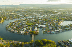 Aerial view of waterfront houses during sunset Royalty Free Stock Images