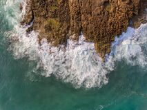 Aerial View, Waves Crash On A Rocky Shore. Portugal. Stock Image