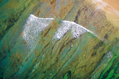 Aerial view waves in ocean. Aerial view of waves, sea and sand bank stock photo