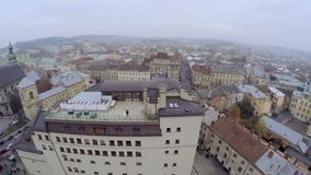 Aerial view . Wedding couple at the roof in the city stock footage