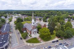 Wellesley Congregational Church, Massachusetts, USA. Aerial view of Wellesley Congregational Church and town center, Wellesley, Massachusetts, USA stock image