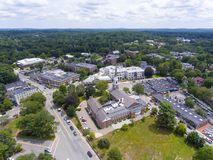 Wellesley Congregational Church, Massachusetts, USA. Aerial view of Wellesley Congregational Church and town center, Wellesley, Massachusetts, USA royalty free stock image