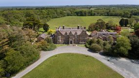 Wells House and Gardens. Wexford. Ireland. Aerial view. Wells House and Gardens, victorian tudor gothic country house near Kilmuckridge. Wexford. Ireland royalty free stock images