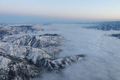 Aerial view of Wenatchee covered in clouds 2 Stock Photos