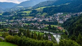 Aerial view of the Werfen village in Austria famous for Hohenwerfen castle and Eisriesenwelt ice cave royalty free stock images