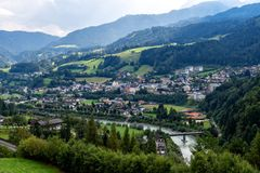 Aerial view of the Werfen village in Austria famous for Hohenwerfen castle and Eisriesenwelt ice cave. Aerial view of the Werfen village in Austria famous for royalty free stock image