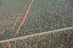 Aerial view of West Australia Desert endless road Royalty Free Stock Photos