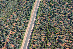 Aerial view of West Australia Desert endless road Stock Photo