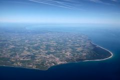 Aerial view of the west coast of Bornholm Royalty Free Stock Photos