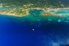 Aerial view of  West End, Roatan island and tropical coral reef Royalty Free Stock Image