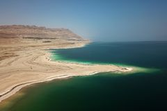 Aerial of Dead Sea royalty free stock photography