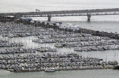 Aerial view of Westhaven Marina in Auckland New Zealand NZ. AUCKLAND, NZ - OCT 08:Aerial view of Westhaven Marina on Oct 08 2013..It's the largest yacht marina Stock Photos