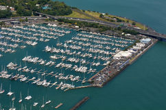 Aerial view of  Westhaven Marina in Auckland waterfront, New Zea Stock Images