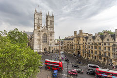 Aerial view of Westminster Abbey and Victoria street Royalty Free Stock Images