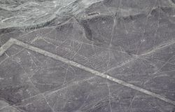 Aerial View of the Whale Nazca Lines. In the Peruvian Desert stock photography