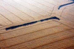 Aerial view of wheat fields. An aerial view of golden wheat fields Stock Image