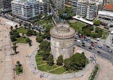 Aerial view of the Whiite Tower, Thessaloniki, Greece. Aerial view of the Whiite Tower, in Thessaloniki, Greece stock photography