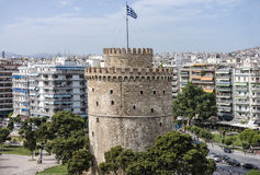 Aerial view of the Whiite Tower, Thessaloniki, Greece. Aerial view of the White Tower, Thessaloniki, Greece royalty free stock image