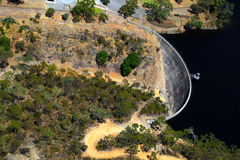 Aerial view of Whispering Wall, Barossa Reservoir, Adelaide, Sou. Th Australia. Whisperings on one side of the wall can be clearly heard on the other Stock Photos