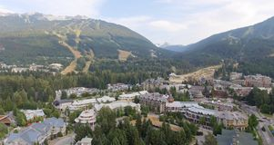 Aerial view of Whistler skyline, Canada stock photography