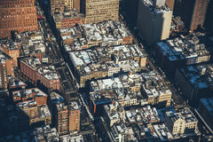 Aerial View of a White and Brown Paint Medium Rise Buildings on a City Royalty Free Stock Images
