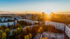 Aerial View of White Concrete Buildings during Golden Hours Stock Photography