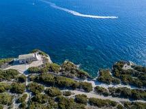 Aerial view on white limestone cliffs, cliffs. Bonifacio. Corsica, France. Stock Photo