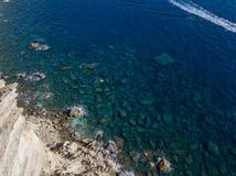 Aerial view on white limestone cliffs, cliffs. Bonifacio. Corsica, France. Royalty Free Stock Images