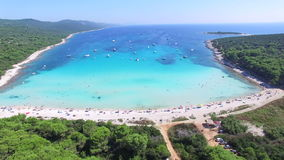 Aerial view of a white sandy shore on the island of Dugi otok, Croatia stock footage