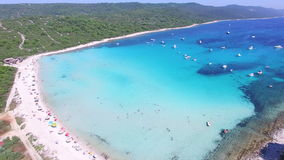 Aerial view of a white sandy shore on the island of Dugi otok, Croatia stock video