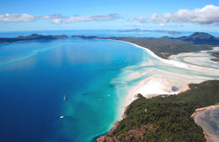 Aerial view of Whitehaven Beach. Whitehaven Island, famous for its white sand, is part of the Whitsunday Island group, Queensland, Australia Royalty Free Stock Photos