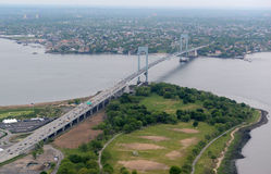 Aerial view of Whitestone Bridge with traffic and Trump golf course, New York City Royalty Free Stock Photos