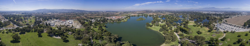 Aerial view of Whittier Narrows Recreation. Beautiful aerial view of Whittier Narrows Recreation at South El Monte Stock Photography
