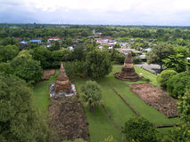 Aerial view Wiang Tha Kan historic temple at Lumphun in Thailand. Stock Images