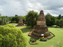 Aerial view Wiang Tha Kan historic temple at Lumphun in Thailand. Stock Photos