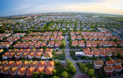 Aerial view of wide angle home village in bangkok thailand stock photography