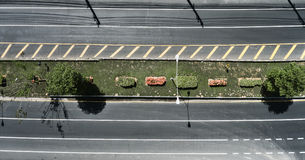 Aerial view of the wide empty road with a nice dividing strip of Stock Photography