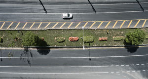 Aerial view of the wide road with a nice dividing strip of grass Stock Image