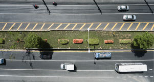 Aerial view of the wide road with a nice dividing strip of grass Royalty Free Stock Photography