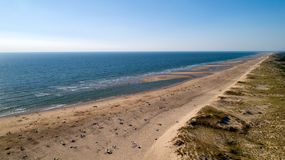 Aerial view of the wild Atlantic coast in La Tremblade. Charente Maritime royalty free stock photos