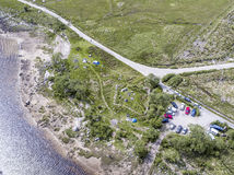 Aerial view of the wild camping area at Loch Etive Royalty Free Stock Images