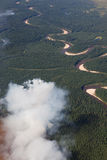 Aerial view of wildfire in forest Royalty Free Stock Photos